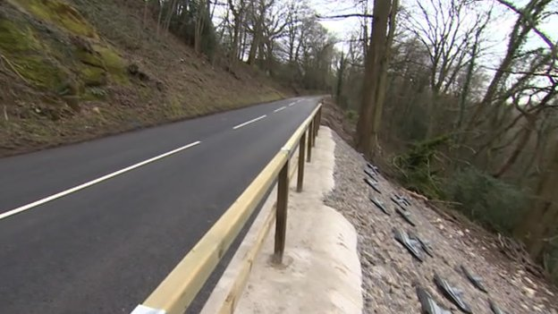 Reopened road in the Forest of Dean