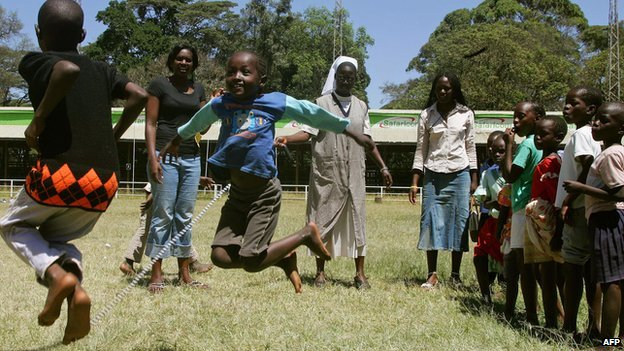 Children play in a park in  Nairobi, Kenya (7 January 2008)