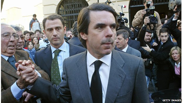 Then Spanish Prime Minister Jose Maria Aznar on election day, 14 March 2004 in Madrid