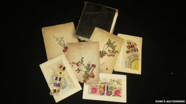 Pressed flower album from World War One