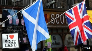 A Scottish flag and a Union flag