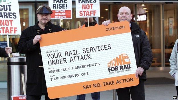 Bob Crow protesting against fare rises