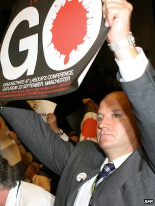 Bob Crow with a Stop the War banner in 2006