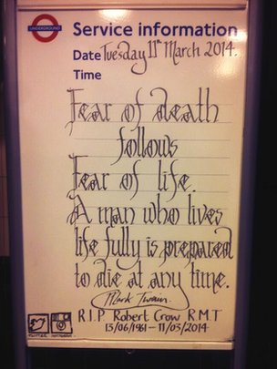 Tribute to Bob Crow at Coven Garden Tube Station