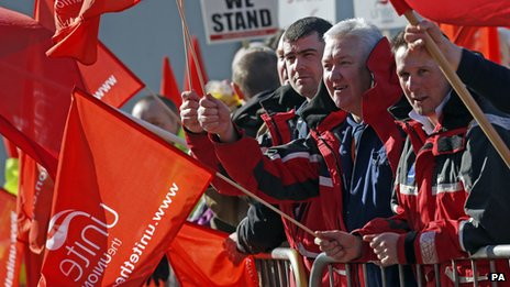 Unite members during a walk out at the Faslane nuclear base