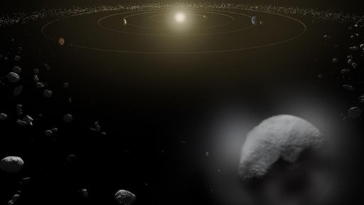 Artist conception of dwarf planet Ceres in the main asteroid belt