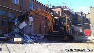 Building in Walsall being knocked down