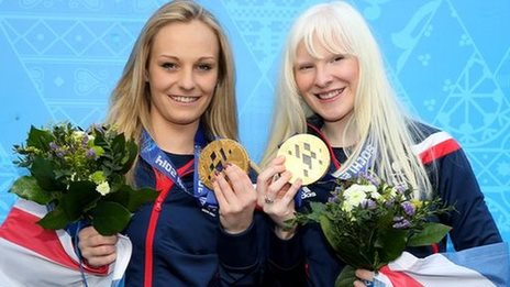 Kelly Gallagher (right) and guide Charlotte Evans