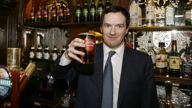 George Osborne and pint of beer