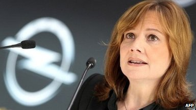 General Motors CEO, Mary Barra, at the company's Germany division, Opel