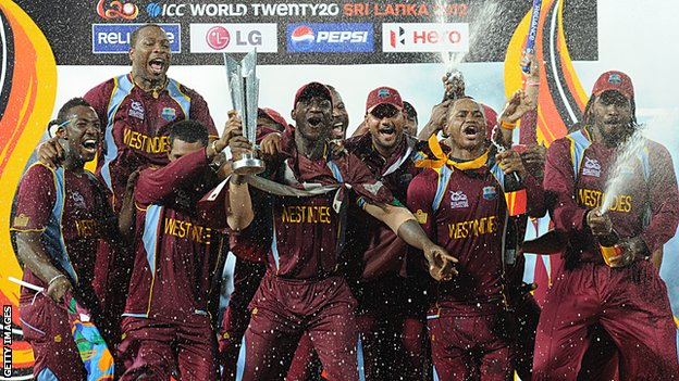 West Indies celebrate winning the World Twenty20 in 2012