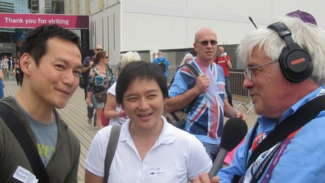 Peter Allen interviewing London 2012 visitors at the Olympic Park