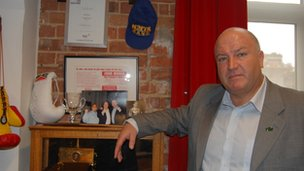 Bob Crow in his office