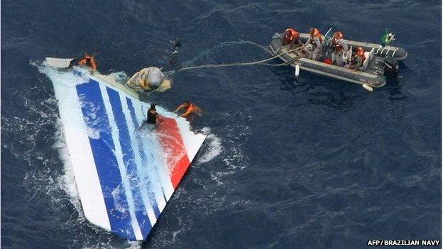 Wreckage of Flight 447, floating in the Atlantic