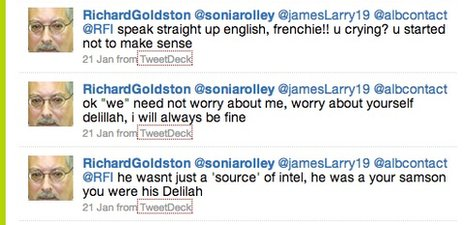 A screenshot of some abusive messages from Goldston
