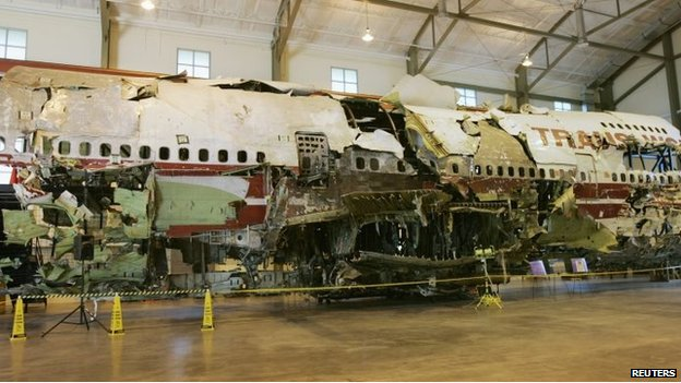 Remains of the TWA Flight 800 wreckage that were reassembled as part of the investigation