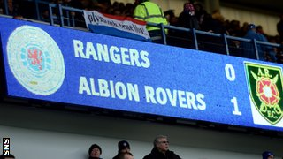 The scoreboard shows Rangers 0-1 Albion Rovers
