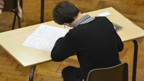 Boy sitting an exam