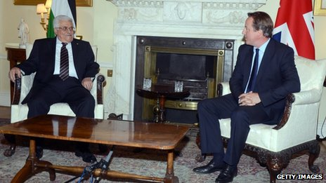 David Cameron and Palestinian leader Mahmoud Abbas