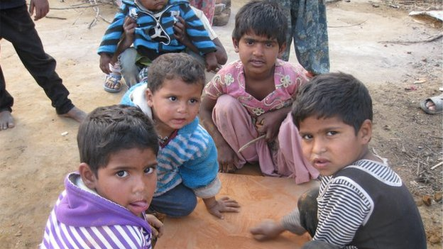 Children in a relief camp