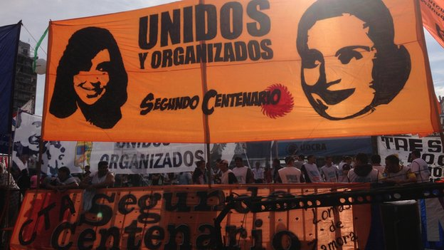 A banner with the face of Cristina Fernandez de Kirchner and Eva Peron