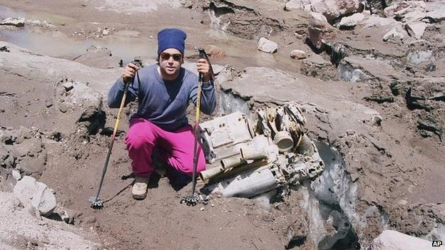 A member of an Andes expedition team that found parts of the wreckage of 'Star Dust'