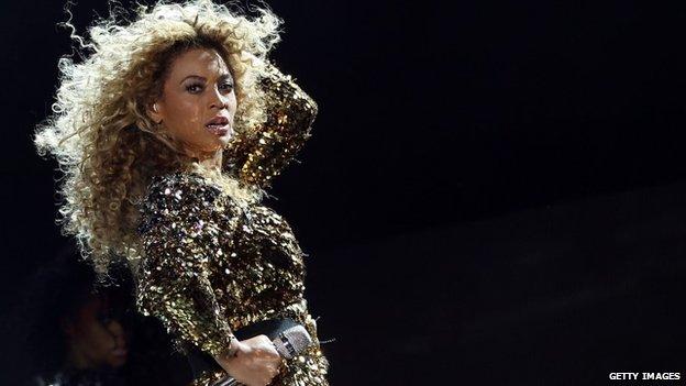 Beyonce on stage at Glastonbury