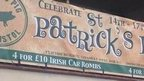 Banner for St Patrick's Day party offering four Irish car bombs for £10