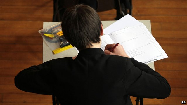 Boy sitting a maths exam
