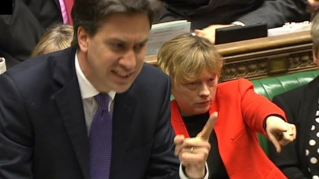 Ed Miliband and Angela Eagle point during PMQs