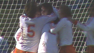 Arie Haan and Netherlands teammates celebrate after beating Italy