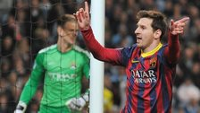 Lionel Messi scores against Manchester City
