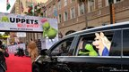 Kermit the Frog and Miss Piggy arrive for the premiere of Disney's film Muppets Most Wanted in Hollywood