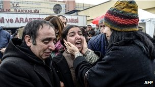 The mother of Berkin Elvan cries after her son died