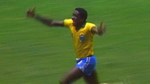 Josimar scores a wonderful goal for Brazil against Northern Ireland