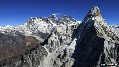 Mount Everest against blue sky