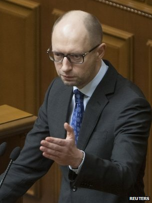 Ukraine's acting Prime Minister, Arseniy Yatseniuk, 11 March 2014