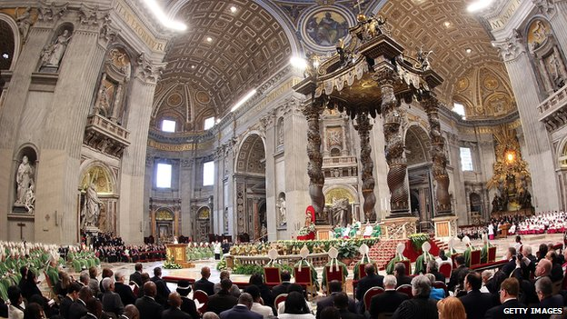 A view of St Peter's Basilica during a mass with newly appointed cardinals held by Pope Francis on February 23, 2014 in Vatican City, Vatican