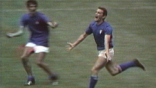Luigi Riva celebrates after scoring for Italy against West Germany