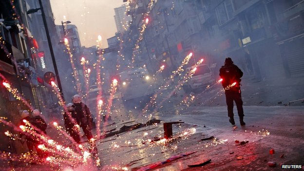 Firework thrown near Taksim Square, Istanbul. 12 March 2014