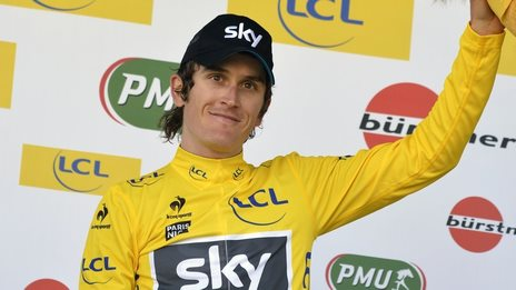 Geraint Thomas in the yellow jersey after taking the overall lead in the Paris-Nice race on Wednesday