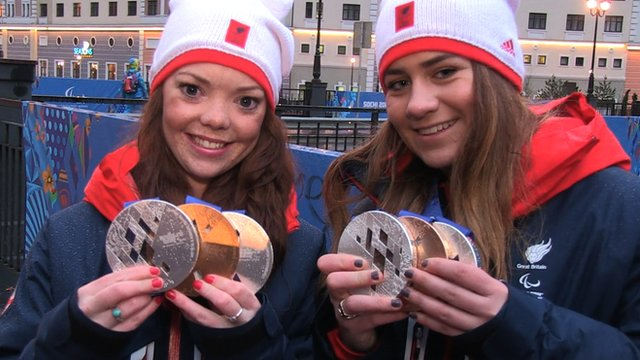 British skier Jade Etherington and guide Caroline Powell have won their third medal of the Winter Paralympics with silver in the visually impaired slalom.