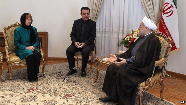 Catherine Ashton meets Iranian President Hassan Rouhani in Tehran (9 March 2014)