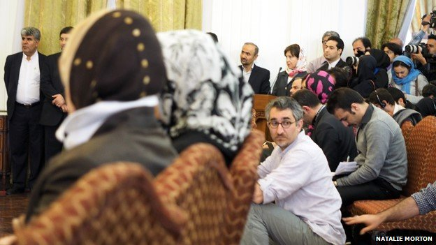 Journalists assembled at a news conference in Tehran