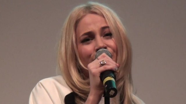 Pixie Lott singing at Ravens Wood School