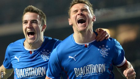 Andy Little and Lee McCulloch celebrate Rangers' opener