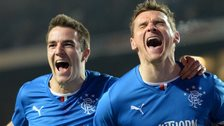 Andy Little and Lee McCulloch celebrate for Rangers