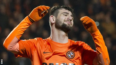 Dundee United striker Nadir Ciftci looks disappointed