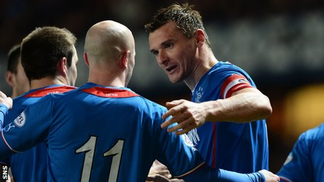 Lee McCulloch celebrates his hat-trick