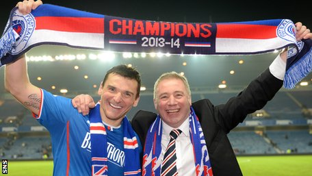 Rangers captain Lee McCulloch and manager Ally McCoist celebrate